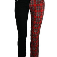 Jist Tartan and Black Split Leg Skinny Jeans - Buy Online at Grindstore.com