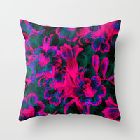 Pink Space Flora Throw Pillow by Page394