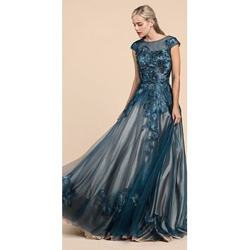 Andrea & Leo A0081 Metallic Floral Lace Gown A-Line Cap Sleeve Teal