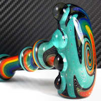 Aqua Rainbow Wig Wag Hammer Glass Pipe - Heady Dry Bowl for Smoking Custom Pulled Color Rainbow Tubing with Sparkly Gold and Aqua Blue