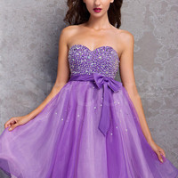 Buy Beautiful Lilac A-line Sweetheart Mini Cocktail Dress  under 200-SinoAnt.com