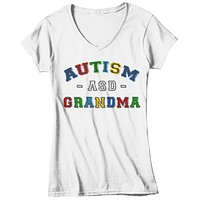 Women's Autism Grandma Shirt ASD Autism Spectrum Shirts Awareness Tee Grandmas Grandmother Support Tee