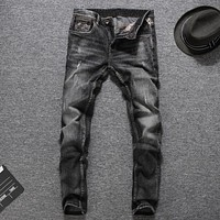 Grey Color Jeans Masculino Denim Pants Distressed Mid Stripe Slim Fit Ripped Jeans