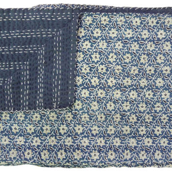 Ajrak Kantha Quilt, Indian Handmade Block Print Quilt, Cotton Reversible Blanket Coverlet, Twin Blue Floral Vintage Quilt Ethnic Decor Art