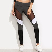 Yoga Leggings Casual Women 2017NEW Mid Waist Fitness Elastic Slim Legging Femme Sexy Mesh Patchwork See Through Workout Leggings