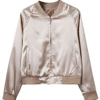 Khaki Zip Up Satin Bomber Jacket