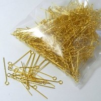 Rockin Beads Brand, 500 Gold Plated Brass Jewelry Eye-rosary Pins 1 Inch 22 Guage .027dia Inch Wholesale Eyepins Lot