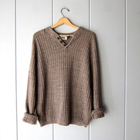 Oversized Beige Brown Sweater Button Up Henley Sweater Slouchy Boyfriend Pullover Textured Cotton Knit Sweater Sweater Men's size Large