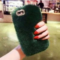 Luxury Real Rabbit Fur Case For Samsung S5 S6 S7 edge S8 Plus Cover Crystal Phone Case for iPhone 4s 5s 6 6s plus 7 plus Cover