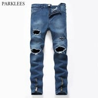 Skinny Ripped Jeans for Men Multi Zipper Motorcycle Biker Jeans Pants Men Brand Casual Stretch Distressed Denim Jeans Trousers