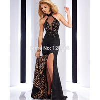 Sexy Black Prom Dresses with Appliques 2016 Vestidos De Fiesta New Arrival Leopard Mermaid Prom Dress with Split