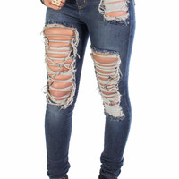 Antique Wash Destroyed Ripped Skinny Denim Jeans