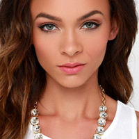 Beauty All Around Clear Rhinestone Statement Necklace