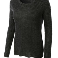 LE3NO Womens Classic Long Sleeve Knit Pullover Sweater Top