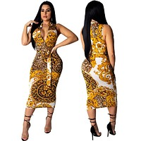 Women's fashion sexy printed zipper sleeveless hip dress