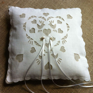 Ring pillow, wedding ring cushion, linen and freshwater pearl