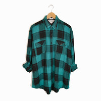 Vintage Men's Buffalo Plaid Flannel Shirt in Teal & Black - large