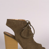Qupid Suede Cutout Chunky Heeled Booties