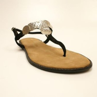 Chinese Laundry Impuilse Black Suede T-Strap Thong Flat Sandals Women's 7.5 M