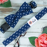 Navy Polka Dot Dog Collar with Removable Bow Tie