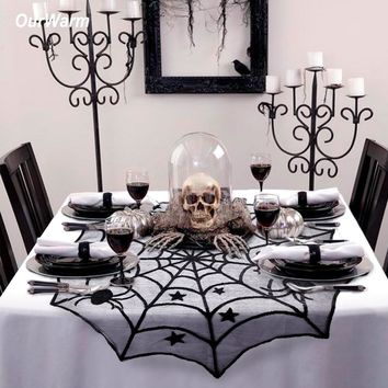Ourwarm Halloween Party Decoration Spiderweb Table Cloth 100cm Black Lace Table Covers for Halloween Decoration Home Decor