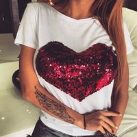 White Patchwork Sequin Valentine's Day Going out T-Shirt