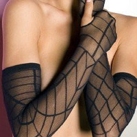 Black Sheer Spiderweb Gothic Gloves