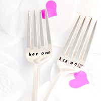 her one, his only-hand stamped,anniversary gift. Hand Stamped Fork set for Weddings and Anniversary.