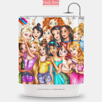 Colorful Disney Princess Selfie Shower Curtain Free shipping Home & Living 223