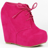Wedge Round Toe Platform Lace Up Ankle Bootie Boot Glaze Camilla1