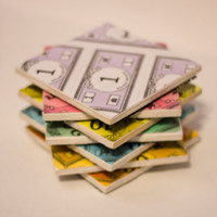 Monopoly Money Coasters - Ceramic Coasters from the classic Monopoly game! Set of 4 or 7!