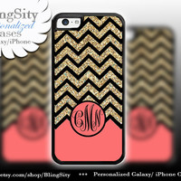 Coral Gold Sparkle Monogram iPhone 5C case 5 iPhone 4 Case iPhone 5S Ipod 4 5 Case Black Chevron Zig Zag Personalized *NOT actual Glitter