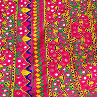 Boho, Gypsy, Tribal, Kutchi Hand Embroidered  Mirrorwork Fabric by Half Yard