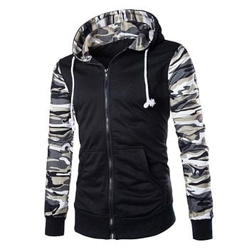 Fashion Men Zipper Camo Casual Military Hoodie Hooded Coat Sweatshirt Outwear