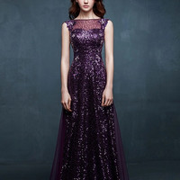 Sequin Lace A-Line Ball Gown
