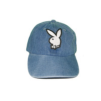 Vintage Culture Playboy Patched Dad Hat In Denim