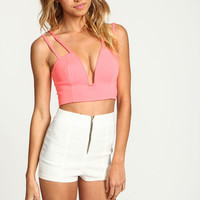 NEON CORAL PLUNGE X BACK CROP TOP