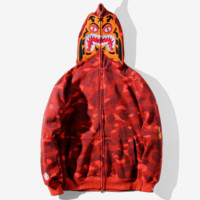 Bape Aape Autumn and winter new fashion hat tiger and sleeve camouflage loose leisure coat top Red