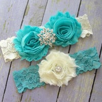 Wedding Garter Belt, Bridal Garter, Garter Sets, Custom Garter, Garter Wedding, Aqua Garter, Something Blue, Turquoise Garter, Ivory Garter