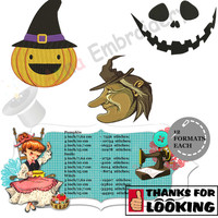 Spooky Halloween embroidery designs PACK of 6-cat with hat-Halloween Hat-Pumpkin-Skull-Bat-Witch-Downloadable