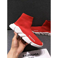 Balenciaga winter and autumn new flat British boots knitted socks boots F-A-HBWJX red