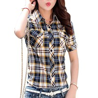 M-3XL Plus Size Tops Casual Short Sleeve Plaid Shirts Women Summer Blouses 100% Cotton Shirt Office Work Slim Shirt Female Blusa