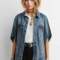 Button-Front Denim Poncho