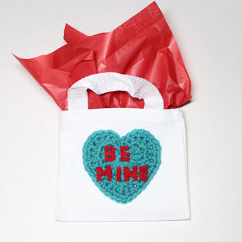 Conversation Heart Gift Bag, Be Mine Mini Tote Bag, Valentines Day Goodie Bag, Valentine Party Favor Bag, Heart Candy Bag, Treat Bag