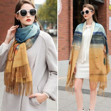 Autumn and winter cashmere fashion wild long shawl scarf [4258976202849]
