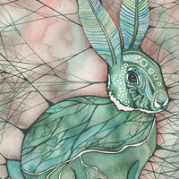Moth Bunny 4 x 6 print of detailed watercolour artwork in whimsical turquoise aqua green brown olive rust earth tones