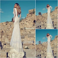 Source Free Shipping!!! CY1297 Vogue Mermaid Backless Long sleeve lace julie vino wedding dresses 2014 on m.alibaba.com