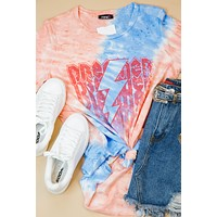Dreamer Distressed Tie Dye Tee, Red/Blue
