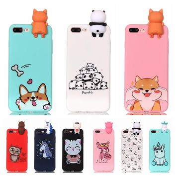 Coque for iPhone 7 7Plus Case 3D Unicorn Panda Dog Silicone Case Cover on for iPhone 5 5S SE 6 6S 8 Plus X Phone Case Capinha