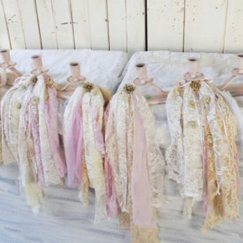 Shabby Chic Pink Candleholders Lace, Distressed Wooden Boho  Taper Candlestick Holders with Garland, Wedding Decor, Nursery Decor
